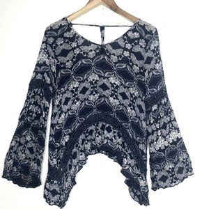 Patrons Of Peace Blue Boho Top Rayon Bell Sleeves